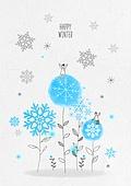 일러스트 (이미지), 겨울, 백그라운드, 우편엽서 (편지), 눈 (얼어있는물), 꽃