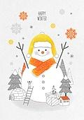 일러스트 (이미지), 겨울, 백그라운드, 우편엽서 (편지), 눈 (얼어있는물), 눈사람