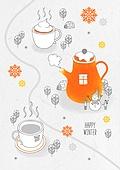 일러스트 (이미지), 겨울, 백그라운드, 우편엽서 (편지), 눈 (얼어있는물), 커피 (뜨거운음료)