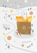 일러스트 (이미지), 겨울, 백그라운드, 우편엽서 (편지), 눈 (얼어있는물), 붕어빵