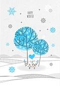 일러스트 (이미지), 겨울, 백그라운드, 우편엽서 (편지), 눈 (얼어있는물), 나무