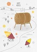 일러스트 (이미지), 겨울, 백그라운드, 우편엽서 (편지), 눈 (얼어있는물), 군고구마