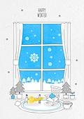 일러스트 (이미지), 겨울, 백그라운드, 우편엽서 (편지), 눈 (얼어있는물), 창문
