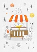 일러스트 (이미지), 겨울, 백그라운드, 우편엽서 (편지), 눈 (얼어있는물), 포장마차, 붕어빵, 어묵