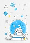 일러스트 (이미지), 겨울, 백그라운드, 우편엽서 (편지), 눈 (얼어있는물), 마을