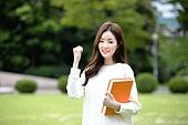 한국인, 여성, 대학생, 캠퍼스 (대학교), 화이팅, 미소