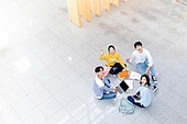 한국인, 대학생, 탑앵글, 공부 (움직이는활동), 대학교, 미소