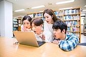 한국인, 대학생, 대학교, 도서관, 책상, 노트북, 놀람 (컨셉)