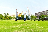 한국인, 대학생, 캠퍼스 (대학교), 대만족 (컨셉), 미소, 점프