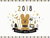 새해 (홀리데이), 연하장 (축하카드), 축하카드 (인쇄매체), 강아지, 개띠해 (십이지신), 캘리그래피 (문자)