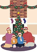 크리스마스, 겨울, 가족, 행복, 함께함 (컨셉), 연례행사 (사건), 연말, 벽난로