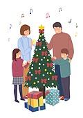 크리스마스, 겨울, 가족, 행복, 함께함 (컨셉), 연례행사 (사건), 연말, 선물 (인조물건)