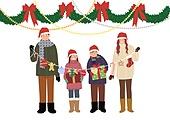 크리스마스, 겨울, 가족, 행복, 함께함 (컨셉), 연례행사 (사건), 연말, 리본 (장식품), 선물 (인조물건), 가랜드 (장식품)