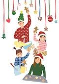 크리스마스, 겨울, 가족, 행복, 함께함 (컨셉), 연례행사 (사건), 연말, 베이킹, 쿠키