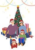크리스마스, 겨울, 가족, 행복, 함께함 (컨셉), 연례행사 (사건), 연말, 가랜드 (장식품), 선물 (인조물건), 크리스마스선물