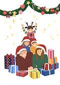 크리스마스, 겨울, 가족, 행복, 함께함 (컨셉), 연례행사 (사건), 연말, 선물 (인조물건), 가랜드 (장식품), 크리스마스데코레이션 (장식품)