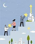 비즈니스, 비즈니스맨, 팀워크, 협력 (컨셉), 함께함 (컨셉), 희망, 발전 (컨셉), 별, 초승달, 계단
