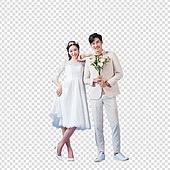 파워포인트 (이미지), PNG, 누끼, 누끼 (컷아웃), 한국인, 남성, 여성, 결혼 (사건), 웨딩드레스 (드레스), 커플