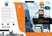 브로슈어 (템플릿), 책표지, 비즈니스, 건설 (산업), 부동산 (컨셉), 한국인, 여성, 비즈니스우먼