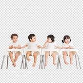 파워포인트 (이미지), PNG, 누끼, 누끼 (컷아웃), 한국인, 아기 (인간의나이), 네명 (여러명[3-5]), 남자아기, 여자아기, 이유식, 일렬 (배열)