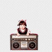 파워포인트 (이미지), PNG, 누끼, 누끼 (컷아웃), 한국인, 아기 (인간의나이), 디제이, 라디오, 대형휴대용카세트 (휴대용스테레오), 파티DJ, 여자아기