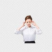 파워포인트 (이미지), PNG, 누끼, 누끼 (컷아웃), 한국인, 여성, 비즈니스, 비즈니스우먼, 신입사원, 고통 (컨셉), 근육경련