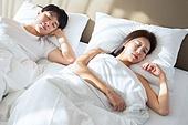 한국인, 부부, 커플, 아침, 잠, 기상 (움직이는활동), 남성, 여성, 숙면