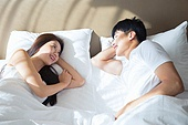 한국인, 부부, 커플, 아침, 잠, 남성, 여성, 마주보기 (위치), 미소