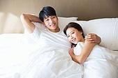 한국인, 부부, 커플, 아침, 잠, 기상 (움직이는활동), 남성, 여성, 미소