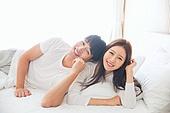 한국인, 부부, 커플, 아침, 잠, 남성, 여성, 신혼부부, 귀여움 (물체묘사), 미소