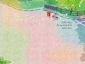 일러스트 (이미지), 책표지, 우편엽서 (편지), 포스터, 백그라운드, 수채화 (회화기법), 카피스페이스 (구도), 레이아웃, 동화, 미니어쳐 (공예품), 벤치