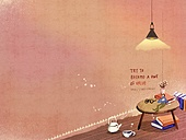 일러스트 (이미지), 책표지, 우편엽서 (편지), 포스터, 백그라운드, 수채화 (회화기법), 카피스페이스 (구도), 레이아웃, 동화, 미니어쳐 (공예품), 테이블