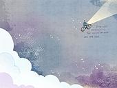일러스트 (이미지), 책표지, 우편엽서 (편지), 포스터, 백그라운드, 수채화 (회화기법), 카피스페이스 (구도), 레이아웃, 동화, 미니어쳐 (공예품), 자전거