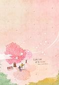 일러스트 (이미지), 책표지, 우편엽서 (편지), 포스터, 백그라운드, 수채화 (회화기법), 카피스페이스 (구도), 레이아웃, 동화, 미니어쳐 (공예품), 봄, 벚나무 (과수)