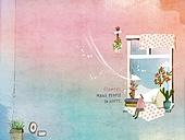 일러스트 (이미지), 책표지, 우편엽서 (편지), 포스터, 백그라운드, 수채화 (회화기법), 카피스페이스 (구도), 레이아웃, 동화, 미니어쳐 (공예품), 창문 (인조물건)
