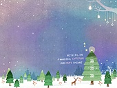 일러스트 (이미지), 책표지, 우편엽서 (편지), 포스터, 백그라운드, 수채화 (회화기법), 카피스페이스 (구도), 레이아웃, 동화, 미니어쳐 (공예품), 겨울, 소나무