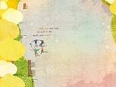 일러스트 (이미지), 책표지, 우편엽서 (편지), 포스터, 백그라운드, 수채화 (회화기법), 카피스페이스 (구도), 레이아웃, 동화, 미니어쳐 (공예품), 단풍 (가을), 공원