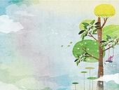 일러스트 (이미지), 책표지, 우편엽서 (편지), 포스터, 백그라운드, 수채화 (회화기법), 카피스페이스 (구도), 레이아웃, 동화, 미니어쳐 (공예품), 나무