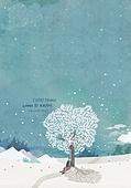 일러스트 (이미지), 책표지, 우편엽서 (편지), 포스터, 백그라운드, 수채화 (회화기법), 카피스페이스 (구도), 레이아웃, 동화, 미니어쳐 (공예품), 겨울, 나무