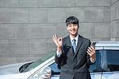 한국인, 남성, 자동차, 스마트폰, 자동차보험, 미소, 출퇴근 (여행하기), OK (손짓)