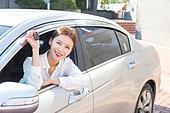 한국인, 여성, 자동차, 초보운전, 자동차열쇠 (열쇠), 미소, 만족
