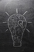 idea. huge bulb made of small ones on chalk board