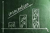 business creativity. rising graph on chalk board. bars made of bulbs