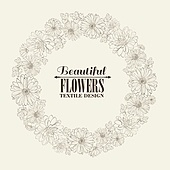 Wreath of beautiful chrystant flowers, isolated on biege. Vector illustration.