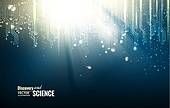 Science blue lights background. Vector illustration.