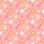 Seamless pattern with small flowers and berries. Vector illustration.. Seamless pattern with small flowers and berries.