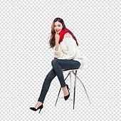 파워포인트 (이미지), PNG, 누끼, 누끼 (컷아웃), 한국인, 여성, 20-29세 (청년), 크리스마스, 연례행사 (사건), 청바지, 머리띠, 선물 (인조물건)