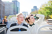 외국인, 백인, 서울 (대한민국), 여행, 관광버스 (버스), 미소, 도시거리, 세종대로 (종로구)
