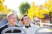 외국인, 백인, 서울 (대한민국), 여행, 관광버스 (버스), 미소, 만족, 도시거리, 카메라
