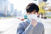 한국인, 남성, 스모그 (대기오염), 먼지, 감기, 대기오염, 공해 (환경오염), 마스크